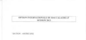 Sujet Histoire - Géographie Option OIB Washington 2013 : Bac ES - L
