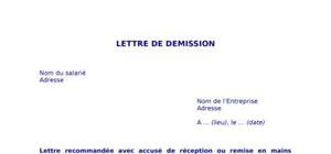 Exemple de lettre de demission