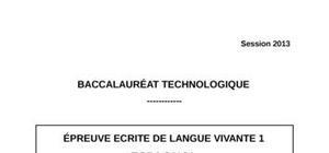 Sujet Espagnol LV1 Bac STG 2013