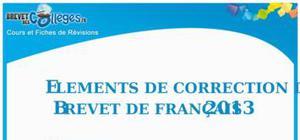 Corrigé Sujet Français Brevet 2013