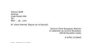 Lettre de résiliation Internet Bouygues Telecom