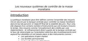 Les nouveaux systèmes de controle de la masse monétaire