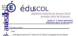 Correction Sujet 0 Brevet Français 2013 : Exemple n° 1 (Générale)