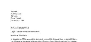 Exemple lettre de recommandation
