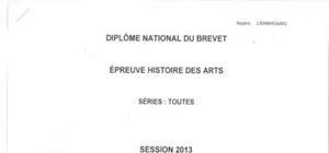 Sujet Brevet Histoire des Arts Washington 2013