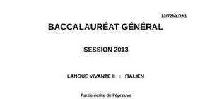 Sujet Italien LV2 Bac ES, S et L 2013