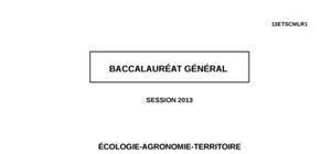 Sujet d'Écologie Agronomie Territoire Bac S 2013