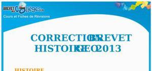 Corrigé Histoire-Géographie Brevet 2013