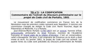 Commentaire du discours préliminaire sur le projet de code civil de portalis
