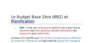 Le budget base zéro (bbz) et planification