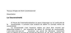 dissertation de droit constitutionnel la souverainet