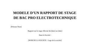 Rapport de stage Bac Electrotechnique