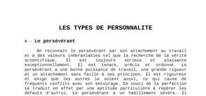 Les differents  types de personnalite