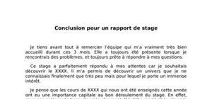Conclusion Rapport de Stage : Exemple
