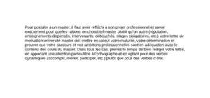 Lettre de Motivation Université Master