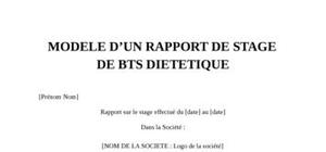 Rapport de stage bts dietetique