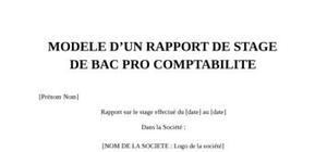 Rapport de stage bac pro comptabilite
