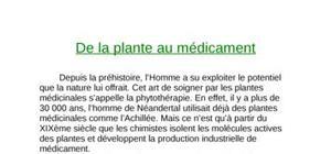 Tpe de la plante au médicament