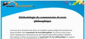 Méthodologie Commentaire de texte Philosophique