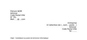 Lettre de motivation technicien informatique