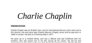 Charlie chaplin exposé en anglais