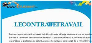 Le Contrat de Travail : Cours Droit Terminale STG