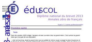 Sujet 0 Brevet Français 2013 : Exemple n° 1 (Professionnelle)