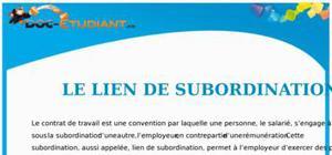 Le Lien de Subordination : Cours Droit Terminale STG