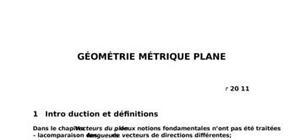 Géométrie métrique plane et géométrie vectorielle dans l'espace
