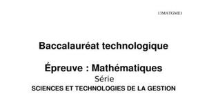 Sujet Maths Bac STG 2013