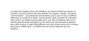 Lettre de Motivation Zara