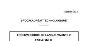 Sujet Espagnol LV2 Bac STG 2013