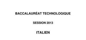 Sujet LV1 Italien Bac STG 2013