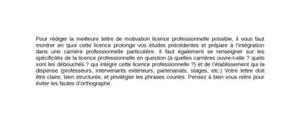 Lettre de Motivation Licence Pro