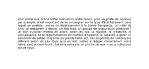 Lettre de Motivation Cuisinier