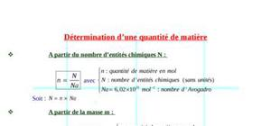 Determiner une quantité de matière (formules)