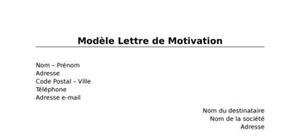 Modèle Lettre de Motivation