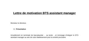 Lettre de motivation bts assistant manager