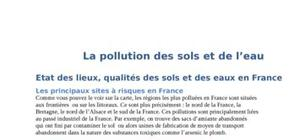 La pollution de l'eau et du sol