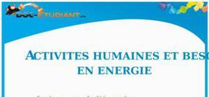 Activités humaines et besoins en énergie : Cours Terminale ES - L