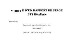 Rapport de Stage BTS Hôtellerie