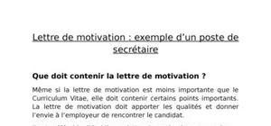 Lettre de motivation : exemple d'un poste de secrétaire