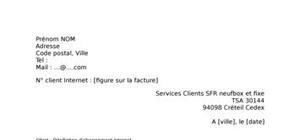 Lettre de résiliation SFR neufbox