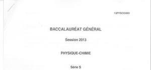 Sujet Physique Chimie Washington 2013 : Bac S