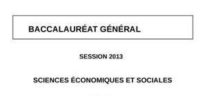Sujet SES Obligatoire Bac ES 2013