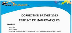 Corrigé Sujet Maths Brevet 2013