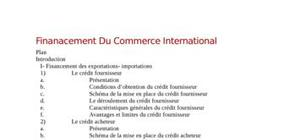 Finanacement du commerce international