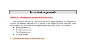historique du système fiscal marocain :