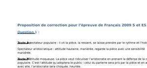 Sujet et Corrigé Bac S de Français 2009