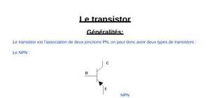 Fonctionnement d'un transistor